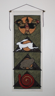 Animal Spirit Tapestry with Crow, Hare Toad and Snake