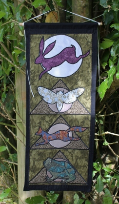Animal Spirit Tapestry with Hare Moth, Fox and Toad